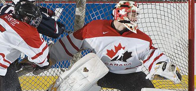 Whitney between pipes for Canada's U18